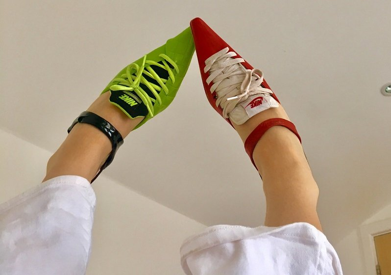 This Romanian designer is turning old Nikes into kitten heels with kick