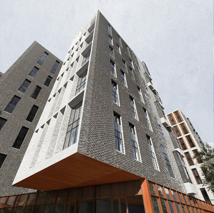 Visualisation of apartment building will metal facade, designed by Sergey Skuratov Architects