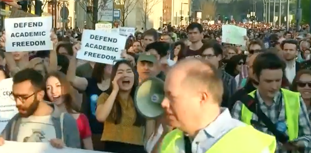 Thousands protest in solidarity with Budapest's Central European University