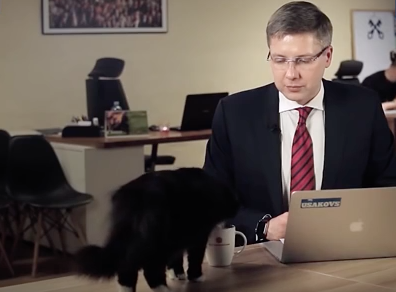 Riga mayor upstaged by cat in Q&A