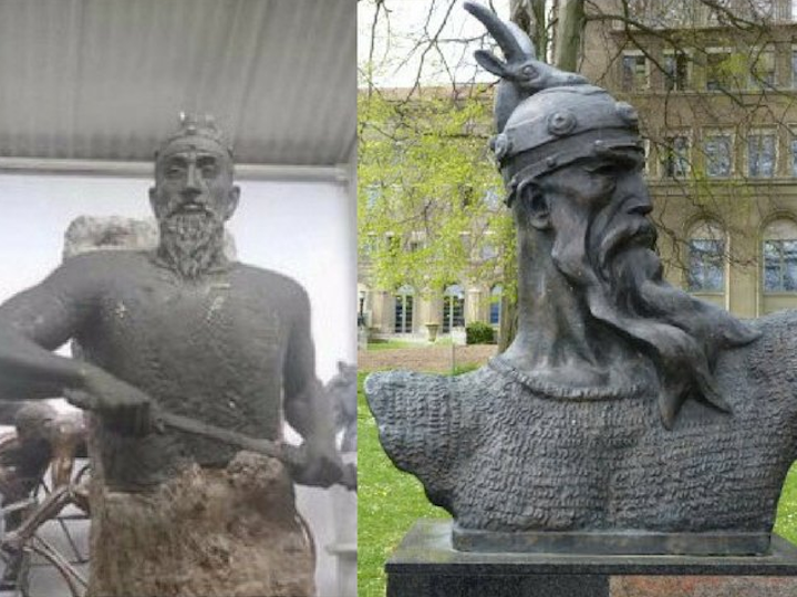 The statue of Skanderbeg as posted by the Albanian ambassador in Hungary (left) and a bust of Skanderbeg located in Geneva, Switzerland (right). Image: Balkan Insight / Twitter