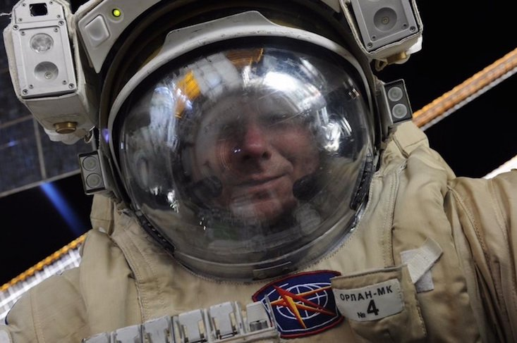 Russian astronaut takes selfie during spacewalk