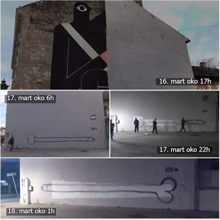 The various stages of the mural wall's development (Image: tandaramandarina / @lee_lloo / Twitter)