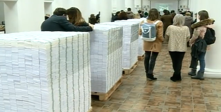 Moldovan artist visualises banking scandal with piles of cash