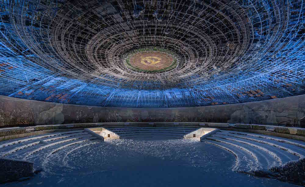 An interior view of the Buzludzha monument, decorated with iconography and colourful mosaics