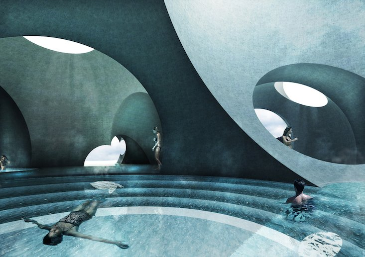 US architects make Latvian thermal baths a space of unity