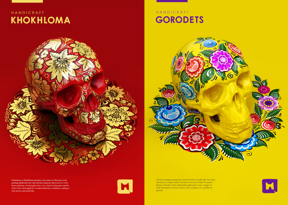 Russian artist creates posters to promote handicraft painting