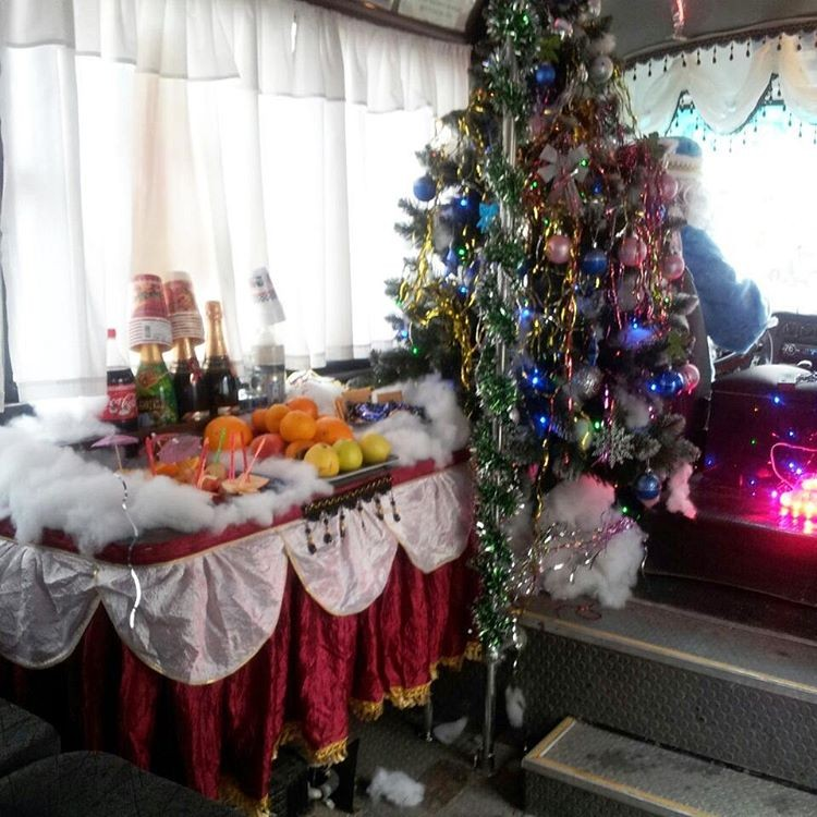 Ride straight into the holiday spirit in this festive minibus