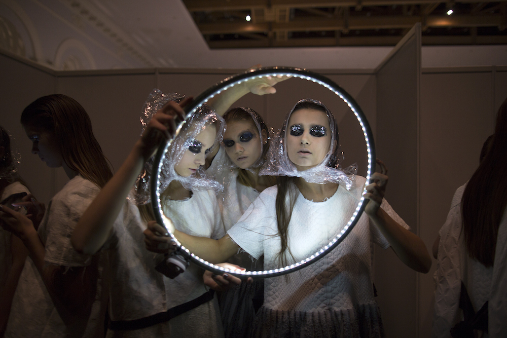 Fashion week moments: models sport cling film-inspired scarves at IVKA