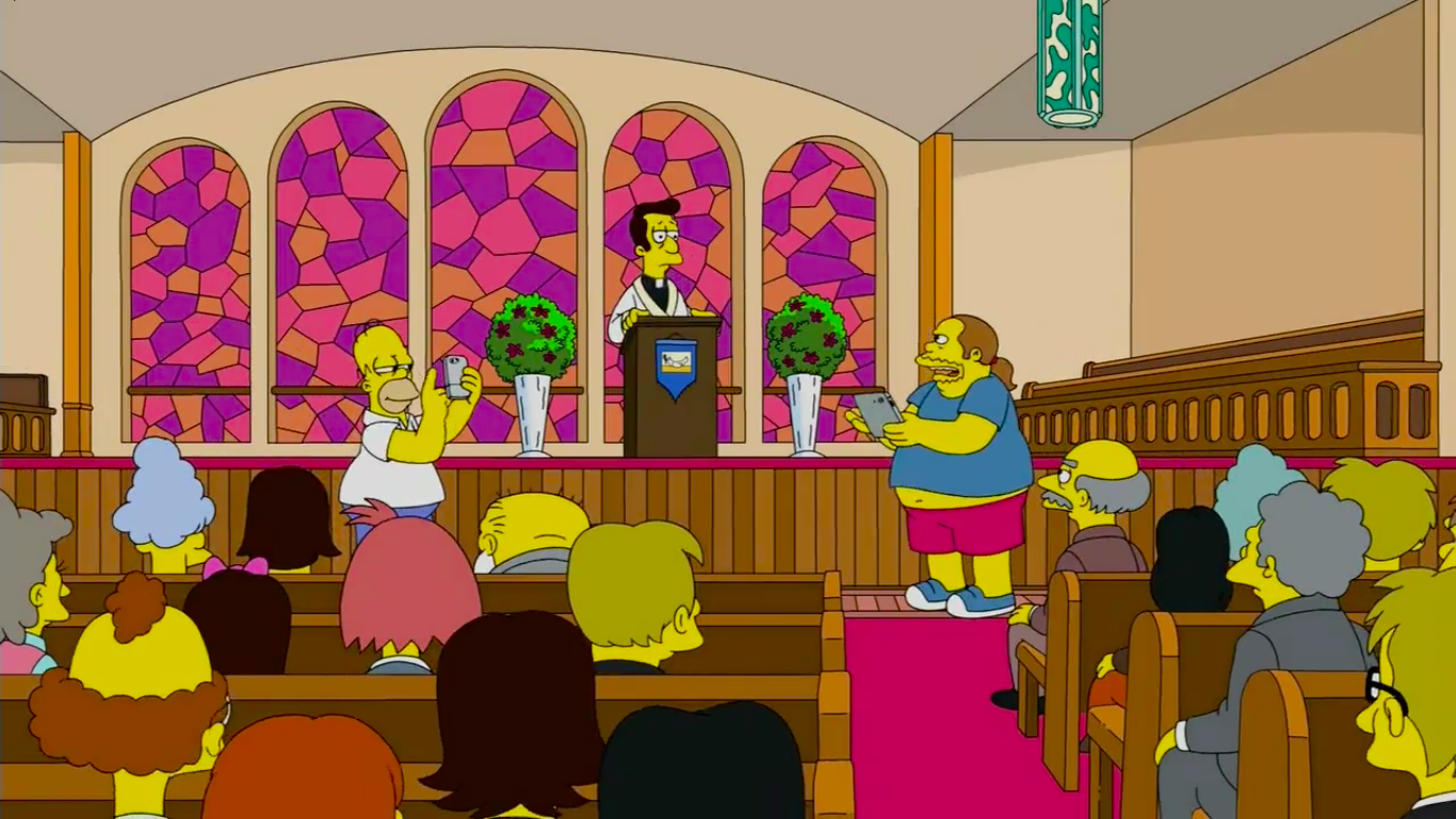 Homer Simpson plays Pokémon GO at church in reference to arrested Russian YouTuber