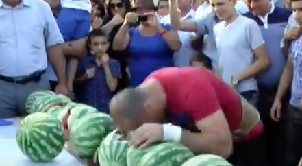 Melon-dramatic: check out Azerbaijan's thrilling watermelon smashing competition