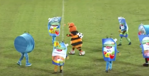 Halftime: mayonnaise mascots in rousing Russian football performance