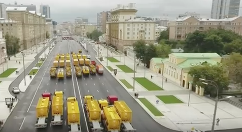 Moscow ditches tanks for fire engines in unusual parade