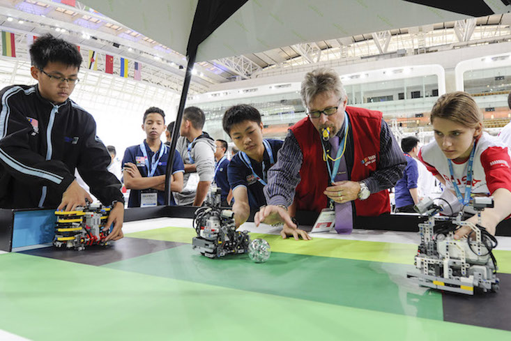 Kick-off for a game of robot football. Image: World Robot Olympiad Association