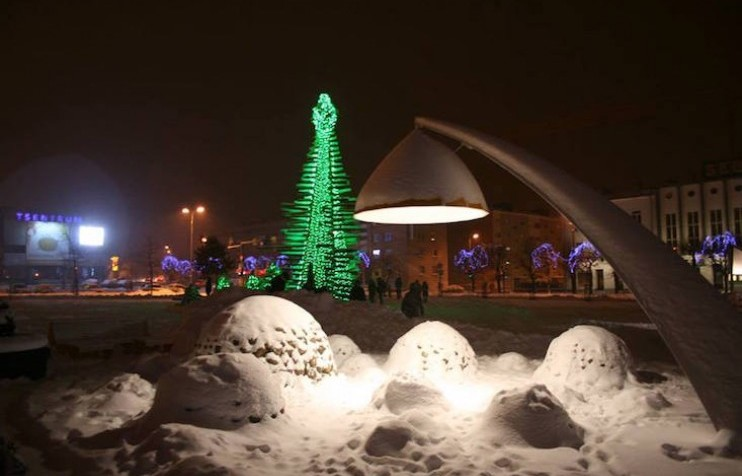 Estonian town unveils huge Christmas tree made of coloured windows