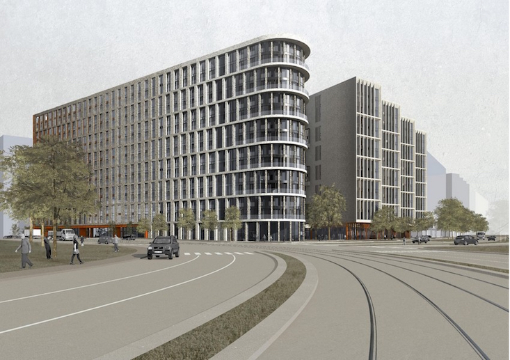 """Visualisation of the """"home-comet"""" building, designed by Sergey Skuratov Architects"""