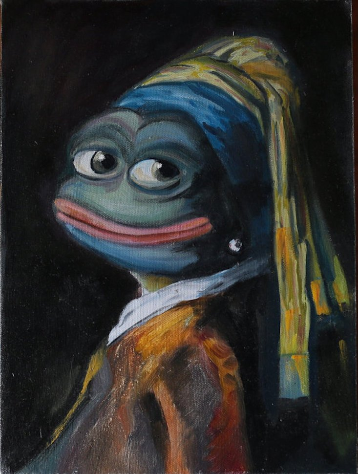 Pepe the Frog - Girl with a Pearl Earring, 2016, Olga Vishnevsky