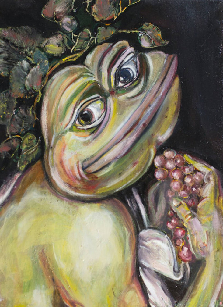 Pepe the Frog With Grapes, Young Sick Bacchus Pepe, 2016, Olga Vishnevsky