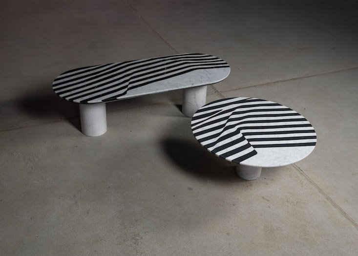 Polish designer Olga Bielawska creates a silky illusion in marble