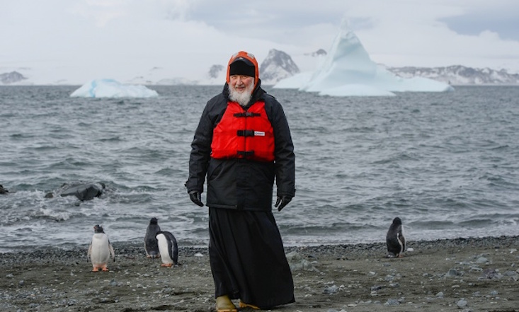 Head of Russian Orthodox Church visits penguins in Antarctica